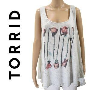 Torrid Roses, Acid Wash Roses Print Tank